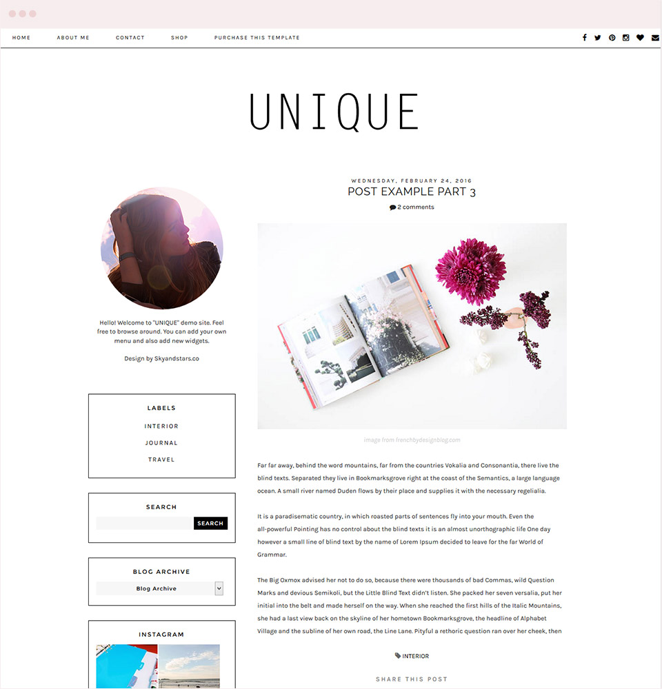 Unique Blogger Template
