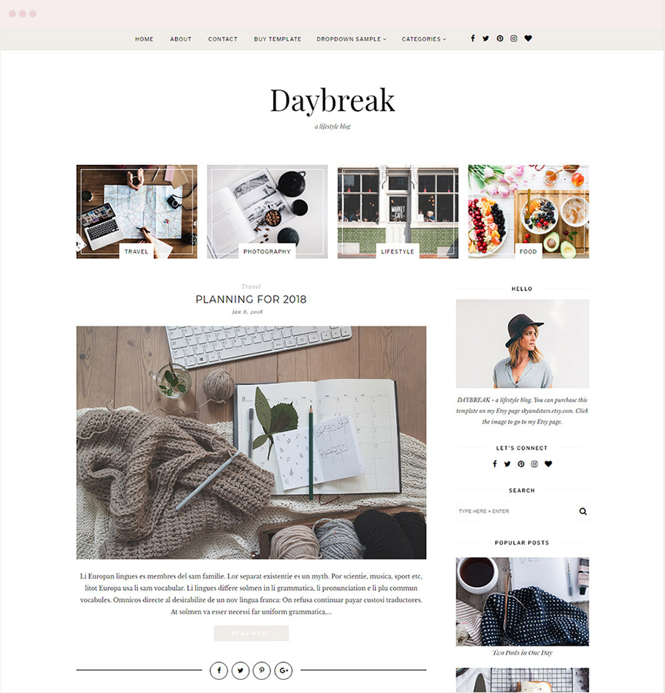 Modern and Stylist Blog Template | SkyandStars.co